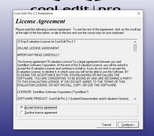 Tích chọn Accept License Agreement và Nhấn vào Continue