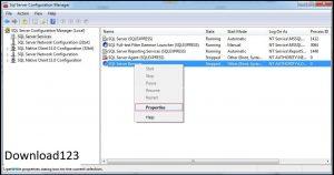 chọn SQL Server Browser và chuột phải vào để chọn Properities và Start