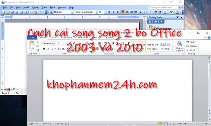 cài song song office 2003 và 2010