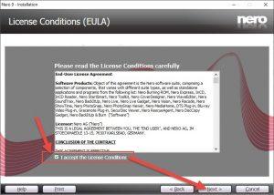 """tích vào ô """"I accept the License Conditions"""" rồi chọn Next"""