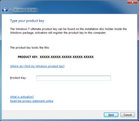 nhập product key vào windows 7