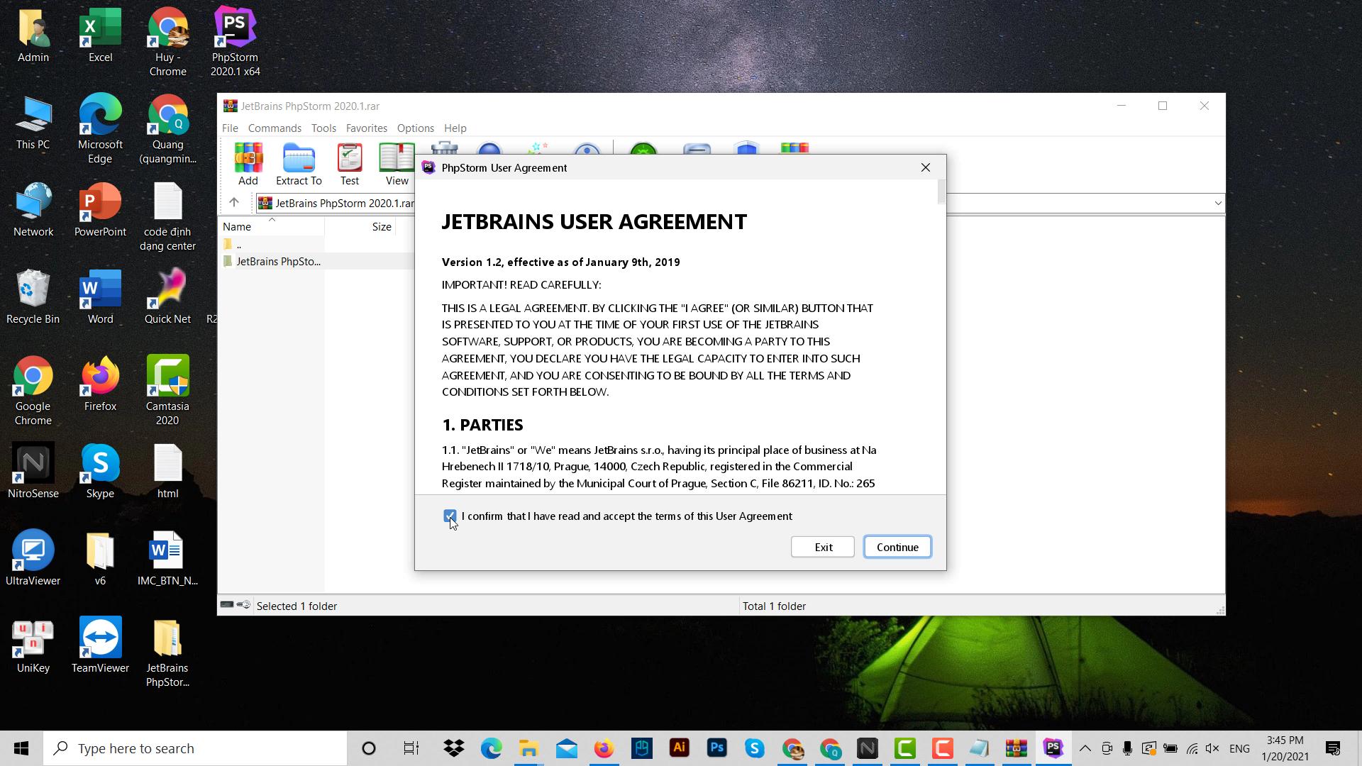 Sau khi phpstorm download xong ta tiến hành cài đặt