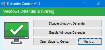 Màu xanh lá cây - Hậu vệ Windows đang chạy