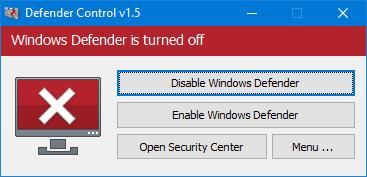 Màu đỏ - Hậu vệ Windows bị tắt