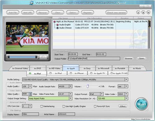 WinX HD Video Converter Deluxe 3.7.7 Build 20100625