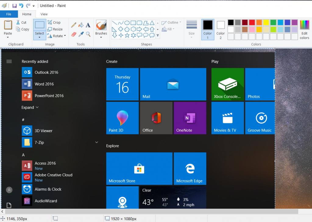 Sử dụng phím tắt Alt + PrtScn để chụp cửa sổ màn hình