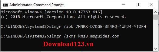 Nhập lệnh slmgr /skms kms8.msguides.com vào CMD