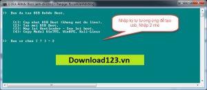 Nhấn 2 để tạo mới USB boot