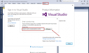 Nhập key visual studio 2013 professional 64bit