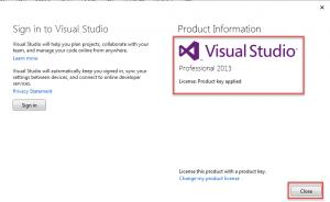 Giao diện Visual Studio 2013 đã được active thành công