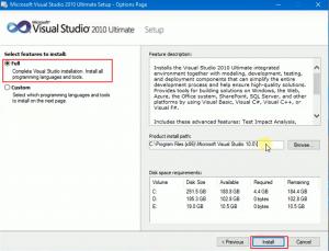 """Sau đó, bạn chọn 'Full' và chọn nơi lưu trữ File Virsual Studio 2010, nhấn """"Install"""" để cài đặt"""